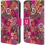 Pouzdro HEAD CASE Samsung Galaxy S4 MINI / S4 MINI DUOS BOTANIKA růžová a hnědá
