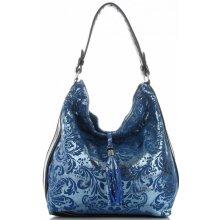 391d992abb Velina Fabbiano módní kožená kabelka Lakovaná Tmavě Modrá
