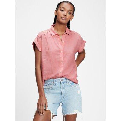 Košile short sleeve drapey shirt červená