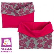 Oboustranný bavlněný nákrčník růžovo/duhový s tenčími proužky