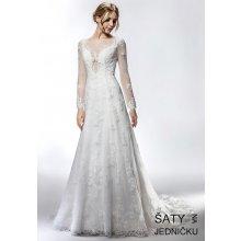 cfb697571c0 Helen Fontaine svatební úzké šaty s dlouhým rukávem na knoflíčky HFW2738
