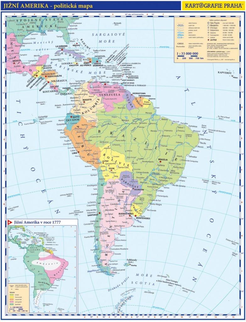 Kartografie Mapa Jizni Amerika Prirucni Polit Mapa Od 30 Kc