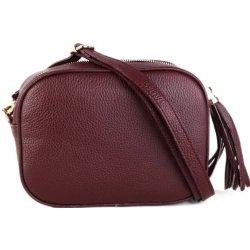 Italské trendové malé kožené crossbody kabelky Kasandra burgundské ... 296d0466cef