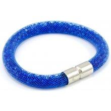 Murano náramek dutinka s krystaly z broušeného skla sytě modrá Tubo Conteria 10000541901