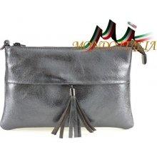 406ef318cc Made In Italy kožená kabelka 1423A šedá metalíza