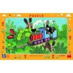 DINO rámové puzzle Krtek a lokomotiva 15 dílků