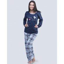 ddaefe7ddfe7 Gina Time for love 19053P dámské pyžamo dlouhé s potiskem lékořice  pomněnková