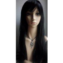 TMT Dámská paruka přirozený vzhled extra dlouhá rovná 80 cm - černá