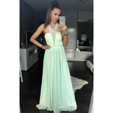 Eva   Lola dámské plesové a společenské dlouhé šaty s korálky zelená 271e5b0587