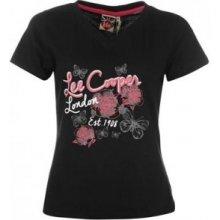 Lee Cooper Print V Neck T Shirt Ladies – Black