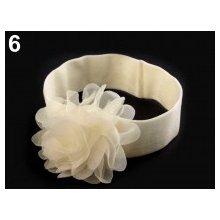 Dětská elastická čelenka s květem krémová
