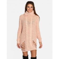 e669f2f656c5 Calzanatta dámské svetrové šaty se vzorem puštěných ok 80100027 růžová