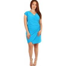 YooY dámské šaty se zavinovacím efektem i pro plnoštíhlé světle modrá c4246da8f9b