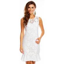 Společenské a plesové šaty značkové krajkové GRAFFITH 3897 WH krajkové bez rukávu středně dlouhé bílé