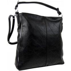 moderní dámská kombinovaná kabelka se stříbrnou linkou 3067-DE černá ... 449ef8ef1e0