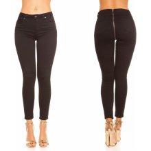 KouCla dámské skinny džíny se zipem vzadu černé 8dc536d025