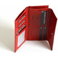 Valentini Dámská peněženka na šířku s velkým zipem kožená červená 19 x 2 x 10 SV00-563B802-00KUZ