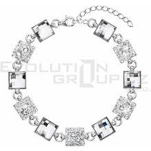 Swarovski elements stříbrný náramek 33047.1 krystal mix