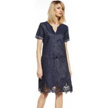 Kvalitní šaty krátké rukávy z bavlny na knoflíčky s výšivkou džínová 3b9bd6c49e