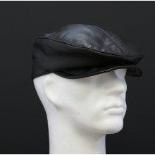 Špongr Pánská kožená čepice s kšiltem bekovka BE6 černá hladká skopovice 34e049e5b2