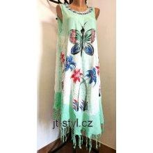 b74eba6c04ff Indické šaty ruční batika motýl třásně mint zelená