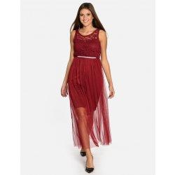 3019fd40deb Calzanatta dámské společenské šaty s tylovou sukní 712046 vínová bordó
