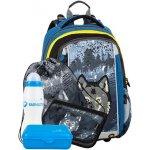 BAGMASTER Klučičí školní batoh pro prvňáčky motiv vlk v setu s penálem  sáčkem lahvičkou a krabičkou a12294a739