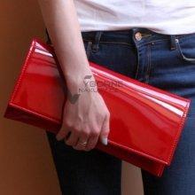 Must Have luxusní psaníčko A4 kabelka lak červená