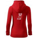 edb57d8e2c74 Geometrire liška dámská mikina trendy zippeer s kapucí červená