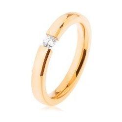 a957eb051 Ocelový svatební prsten zlaté barvy čirý zirkonek plochá ramena HH6 ...