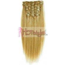 HOTstyle Clip in vlasy 40cm Remy pravé lidské AAA - přírodní/světlejší blond