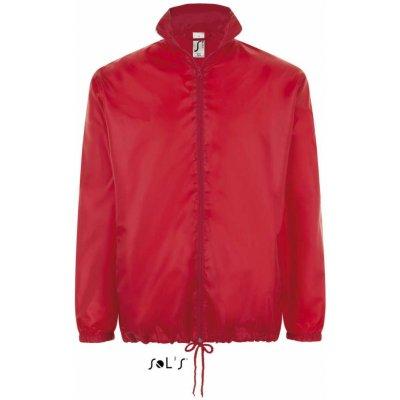 Sol's základní lehká větrovka kapucí v límci a kapsami na zip červená
