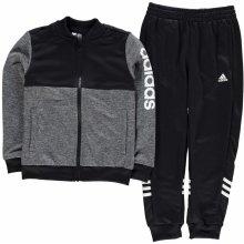 Adidas Linear Logo Tracksuit Junior Boys DkGrey Blk Wht