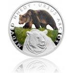 Česká mincovna Stříbrná mince Ohrožená příroda Medvěd hnědý proof 16 g