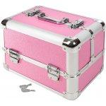 TecTake 401069 Kosmetický kufřík se 4 přihrádkami růžová umělá hmota