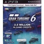 Gran Turismo 6 2.5 million credit