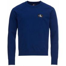 Calvin Klein Jeans Pulovr 'MONOGRAM CHEST LOGO NYLON SWEATER' tmavě modrá