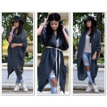 Luxusní pletené kabáty Anna grafitová