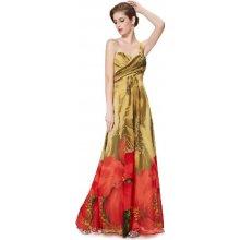 1279cf2d173 Dlouhé letní společenské šaty s červenou hnědá