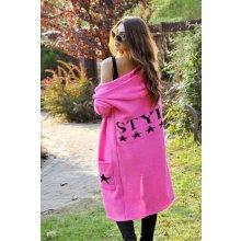 Fashionweek Dámský elegantní barevný svetr exclusive - kabát s kapucí  SV11 STYLE Růžový neon 4bd636041a7
