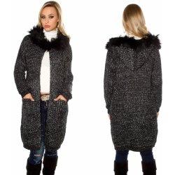 KouCla Dámský dlouhý cardigan s kapucí a kožíškem černý od 1 639 Kč ... 0a1dc68fe6