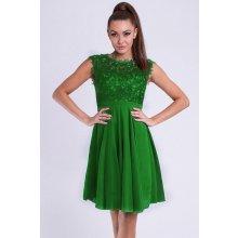 Eva   Lola krátké společenské šaty s krajkovým vrškem zelená 5ac9a5b745