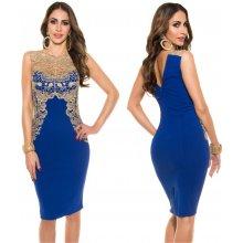 KouCla Pouzdrové šaty se zlatou krajkou královsky modré