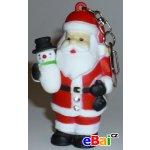 Přívěsek na klíče Blikací vydávající zvuk zvířátko Santa Klaus