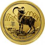 Lunární Zlatá investiční mince Year of the Goat Rok Kozy 1 2 Oz 2015
