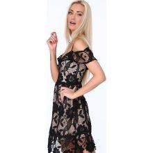 Dámské koktejlové šaty z hrubé krajky černá f607596375a