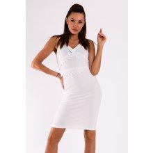 1b8addae6d8 Emamoda dámské šaty bez rukávů s krajkou středně dlouhé bílá