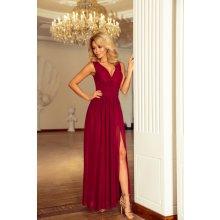 Numoco luxusní dámské společenské a plesové šifonové šaty dlouhé bordó ba1eb77ece