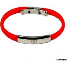 Náramek silikonový Manchester United FC s ozdobou červený 319625 CurePink