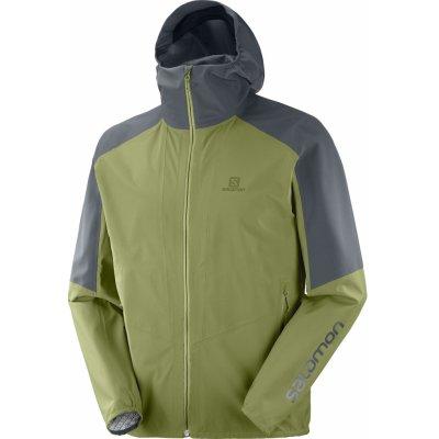 Salomon Outline pánská turistická nepromokavá bunda zeleno-šedá